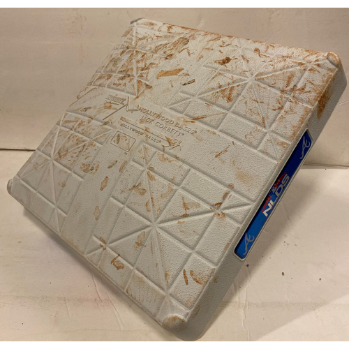 Photo of 2018 NLDS Game Used Base - First Base Used During 9th Inning - 10/8/18 - Dodgers Clinch