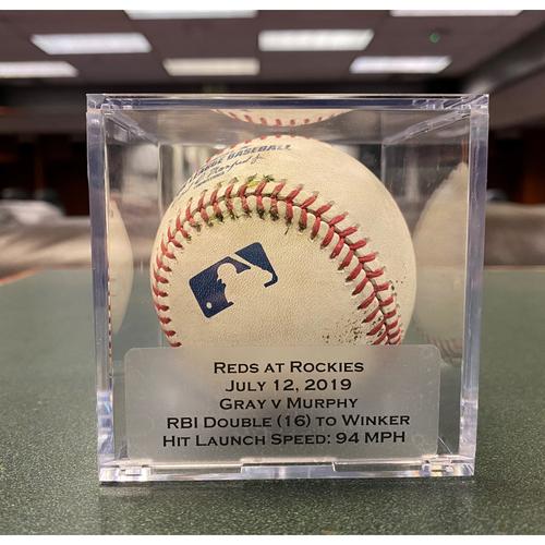 Colorado Rockies Game-Used Baseball - Pitcher: Sonny Gray, Batter: Daniel Murphy (RBI Double (16) to Jesse Winker) - July 12, 2019 vs Cincinnati Reds