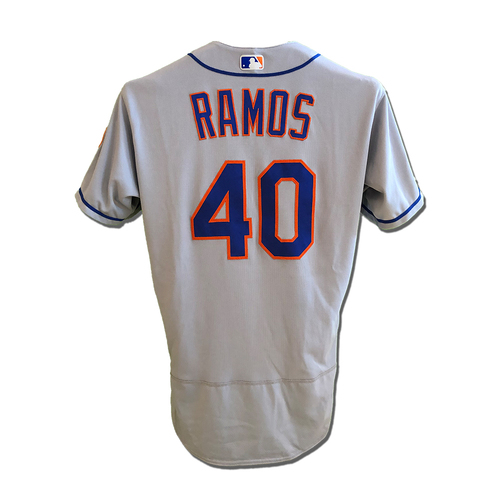 Photo of Wilson Ramos #40 - Game Used Road Grey Jersey - Ramos Goes 1-4, Walk - Mets vs. Reds - 9/20/19