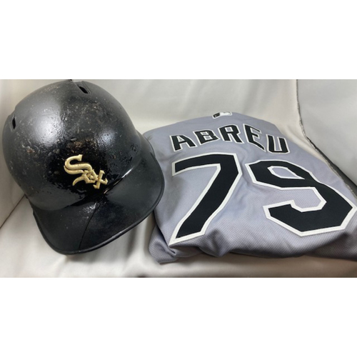 Photo of The RBI Special - Jose Abreu 2019 Game-Used Black Matte Helmet and 2019 Game-Used Grey Alternate Jersey