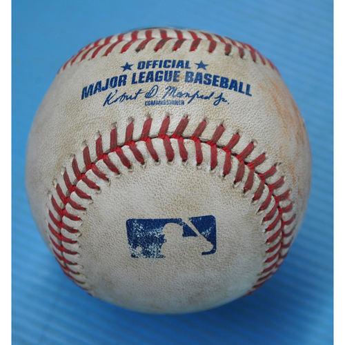 Photo of Game-Used Baseball - CLE at PIT - 8/18/2020 - Pitcher - JT Brubaker, Batter - Tyler Naquin (CLE), Top 2, Double