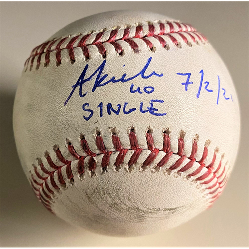 """Photo of Baddoo Exclusive! Autographed Game-Used Baseball:  Akil Baddoo Single (7/2/21) Autographed with Inscription """"Single 7/2/21"""" (MLB AUTHENTICATED)"""
