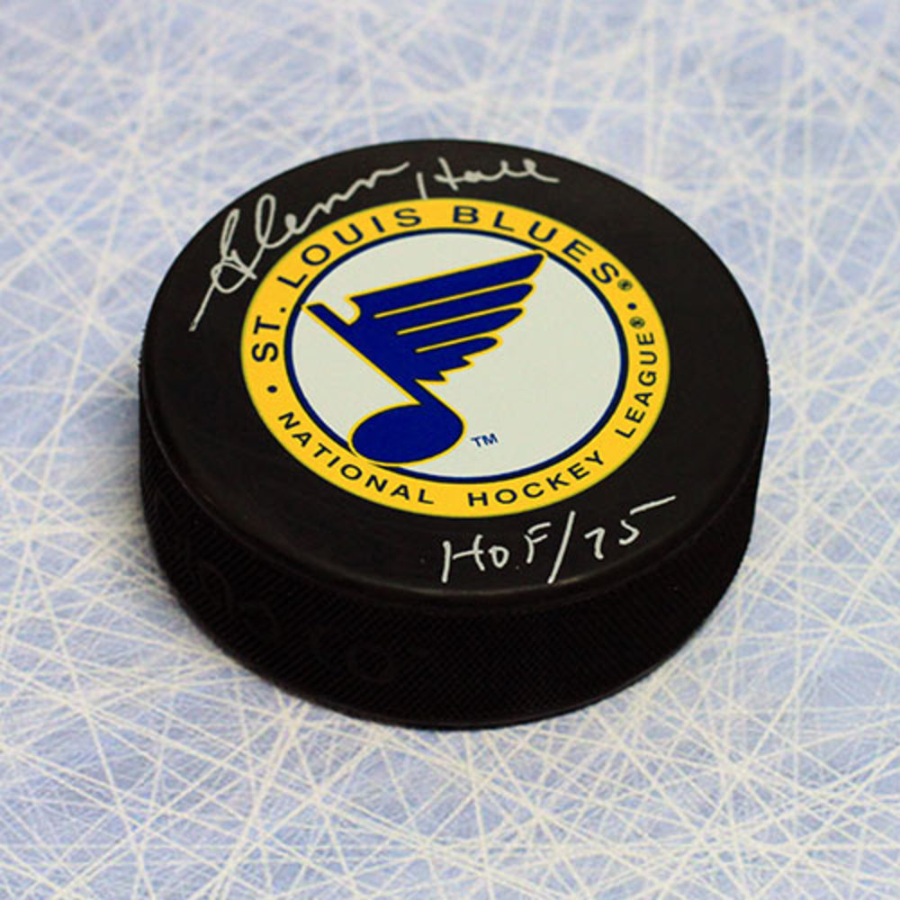 Glenn Hall St. Louis Blues Autographed Hockey Puck with HOF Inscription
