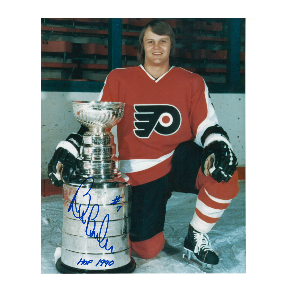 BILL BARBER Signed Philadelphia Flyers Cup 8 X 10 Photo - 70132