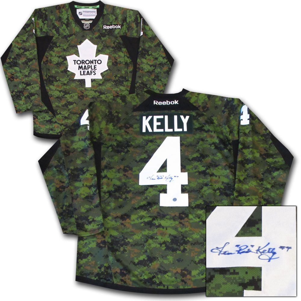 4cd74095f87 Red Kelly Autographed Toronto Maple Leafs Camo Jersey - NHL Auctions