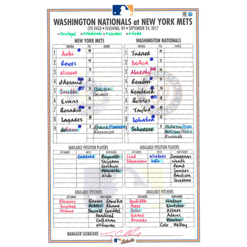 Game Used Lineup Card - Jacob deGrom Start; 6 IP, 11 K's - Mets vs. Nationals - 9/24/17