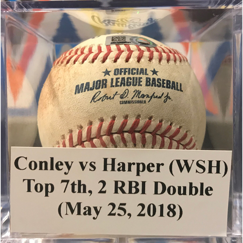 Photo of Game-Used Baseball: Bryce Harper 2 RBI Double (May 25, 2018)