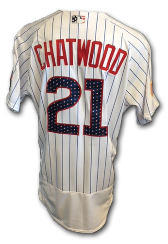 Photo of Tyler Chatwood Stars and Stripes Game-Used Jersey -- Tigers vs. Cubs -- 7/4/18