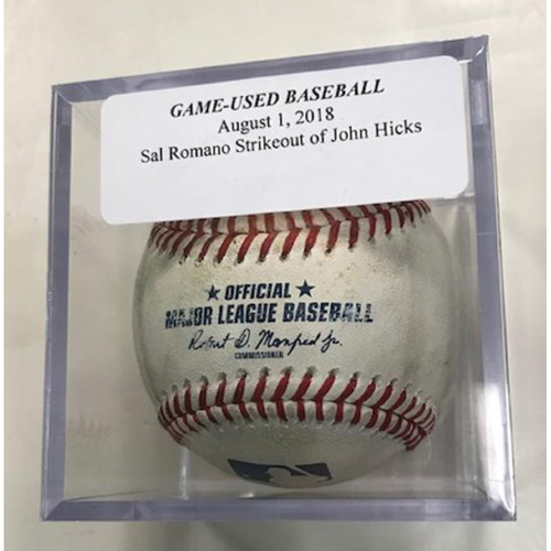 Photo of Game-Used Baseball: John Hicks Strikeout by Sal Romano
