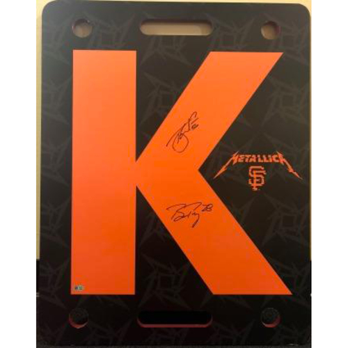 "Photo of Giants End of Season Auction: Tony Watson & Buster Posey Signed Game-Used Metallica ""K"" Board"