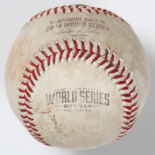 Photo of Game-Used Baseball: 2014 World Series Game 7 - San Francisco Giants at Kansas City Royals - Batter: Pablo Sandoval, Pitcher: Kelvin Herrera - Top of 6, Single to LF