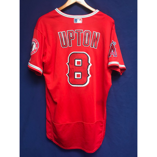 Photo of Justin Upton 3 Game Alternate Red Jersey: Game Used