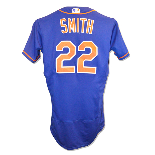 Photo of Dominic Smith #22 - Game Used Blue Alt. Home Jersey - 1-4 - Mets vs. Marlins - 9/28/18
