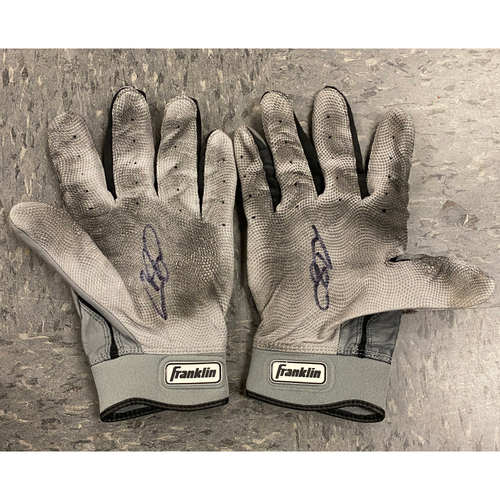 Photo of 2019 Holiday Sale - 2019 Autographed Batting Gloves signed by #53 Austin Slater - Gray Franklin Batting Gloves