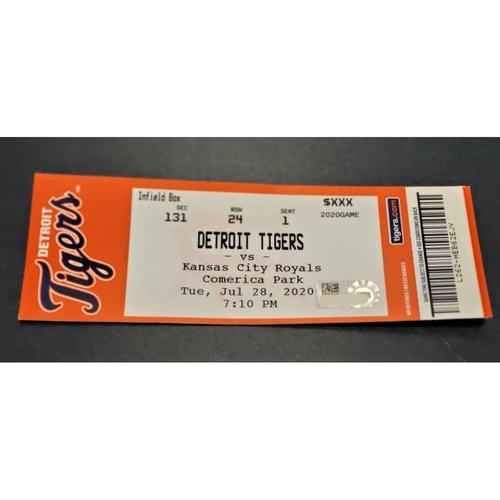 Photo of Detroit Tigers vs Kansas City Royals 7/28/20 Comerica Park Home Game #2 Limited Edition Full Game Ticket (MLB AUTHENTICATED)