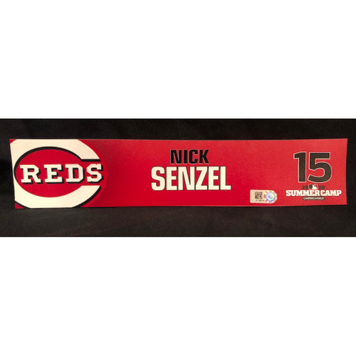 Photo of Nick Senzel -- 2020 Sumer Camp Locker Tag -- Team-Issued