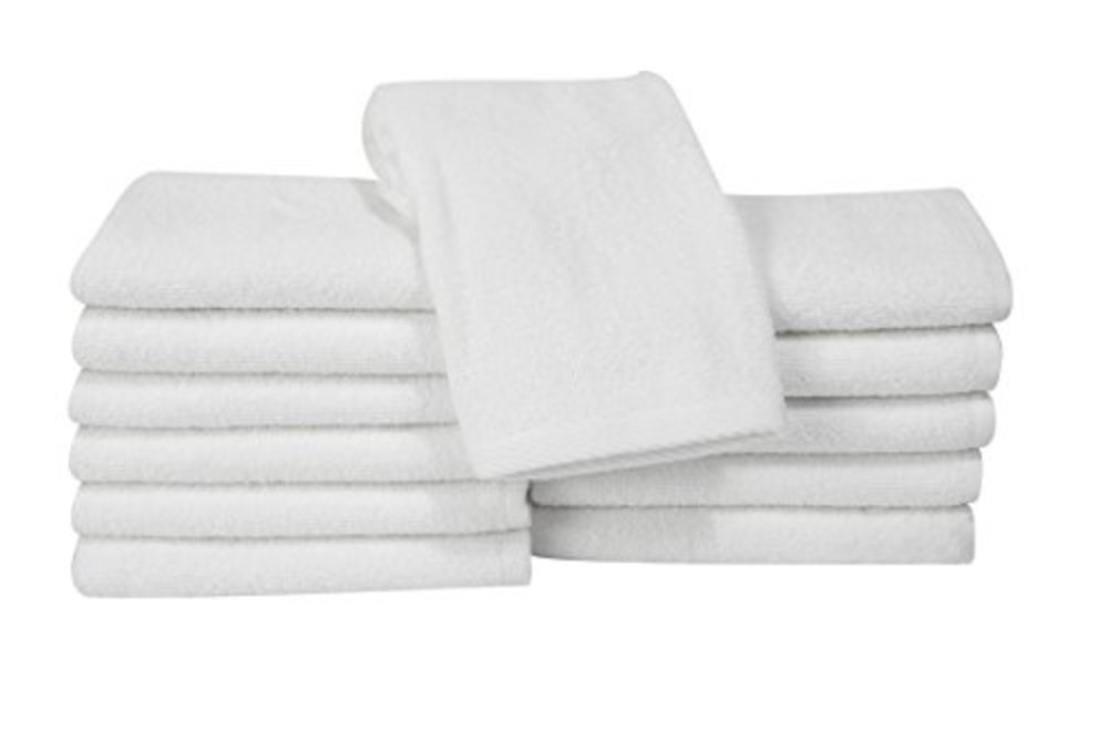 Photo of Classic Turkish Cotton Bath Towel Set - Thick and Soft Terry Cloth Hotel and Spa Quality Bath Towels Made with 100% Turkish Cotton (White, 13x13)