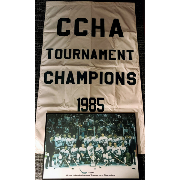 Photo of 1985 CCHA Tournament Champion and Two Framed Photos
