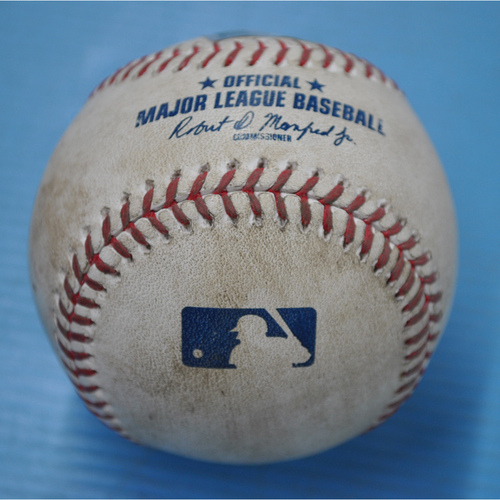 Photo of Game-Used Baseball - MIL at PIT - 8/21/2020 - Pitcher - Adrian Houser (MIL), Batter - Gregory Polanco, Bot 4, Single