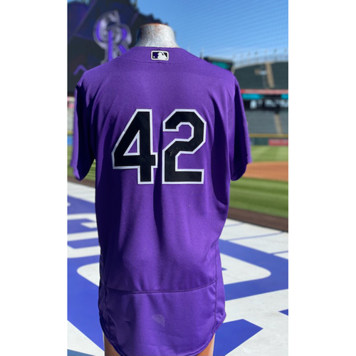 Photo of Colorado Rockies Foundation:Game-Used Jackie Robinson Day Jersey-Ryan McMahon- Hit HR and Double - Rockies at Dodgers - April 15, 2021