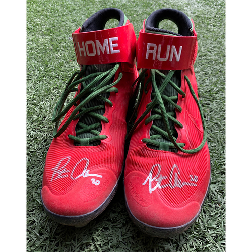 Photo of Pete Alonso #20 - Autographed Game Used Cleats - Home Run Apple Red Nike - 2021 Home Opener - Mets vs. Marlins - 4/8/21