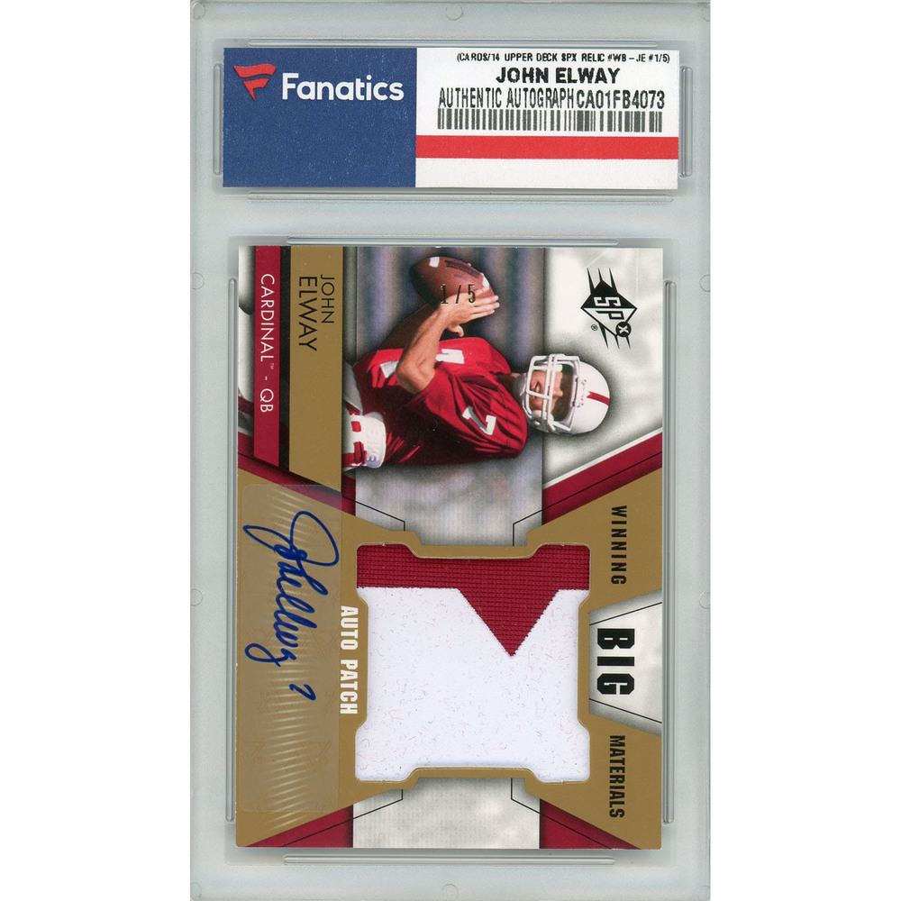 John Elway Stanford Cardinal Autographed 2014 Upper Deck SPX Jumbo Prime Patch Relic #WB-JE #1/5 Card