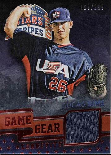 Photo of 2015 USA Baseball Stars and Stripes Game Gear Materials Longevity Ruby #64 Lucas Sims/299