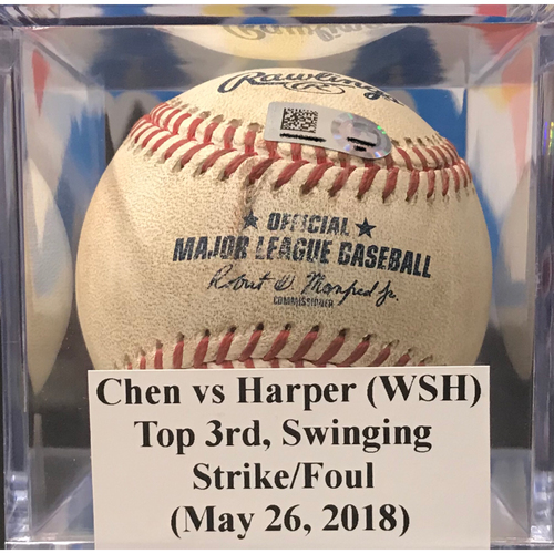 Photo of Game-Used Baseball: Wei-Yin Chen vs Bryce Harper - Swinging Strike/Foul (May 26, 2018)
