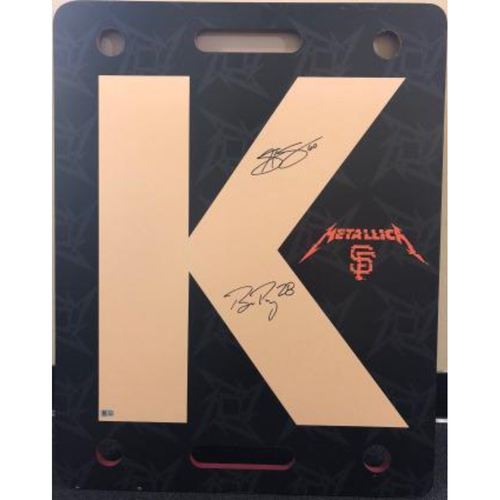 "Photo of Giants End of Season Auction: Hunter Strickland & Buster Posey Signed Game-Used Metallica ""K"" Board"