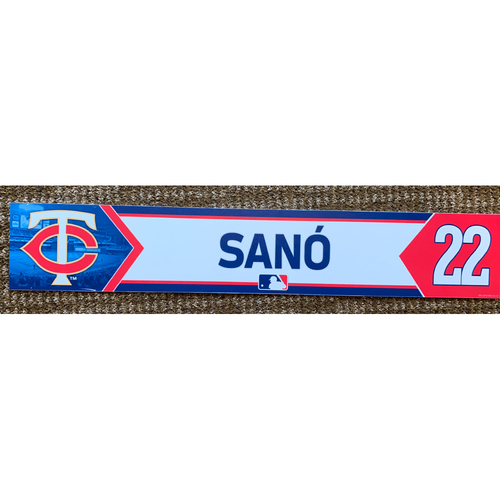 Photo of 2018 Game-Used Miguel Sano Minnesota Twins Lockertag