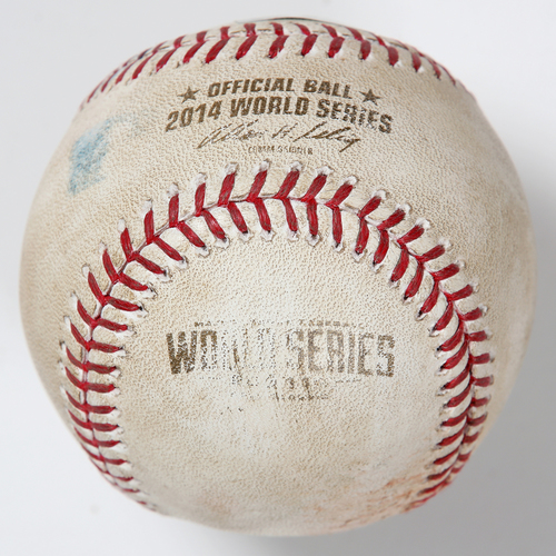 Photo of Game-Used Baseball: 2014 World Series Game 1 - San Francisco Giants at Kansas City Royals - Batter: Joe Panik, Pitcher: James Shields - Top of 1, Fly Out to CF