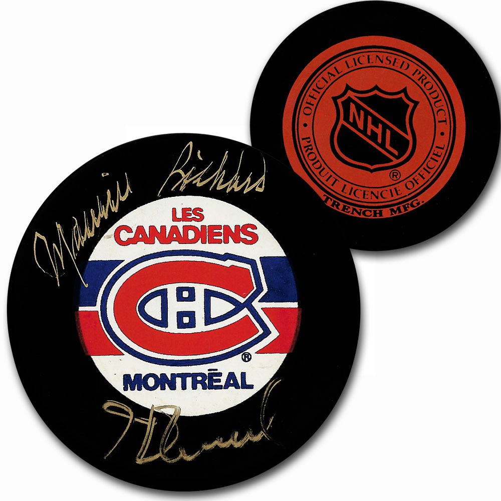 Maurice & Henri Richard Dual-Signed Montreal Canadiens Vintage Trench Puck