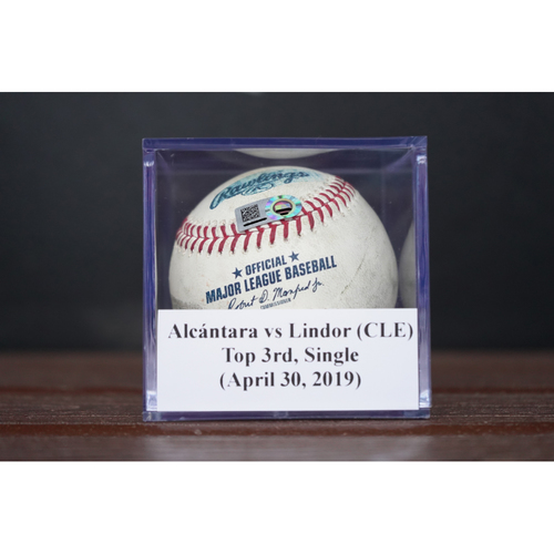 Photo of Game-Used Baseball: Francisco Lindor - Single (April 30, 2019)