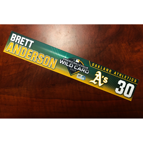 Photo of Brett Anderson Game-Used 2019 A.L. Wild Card Locker Nameplate