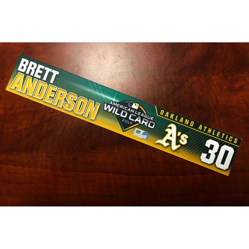 Brett Anderson Game-Used 2019 A.L. Wild Card Locker Nameplate