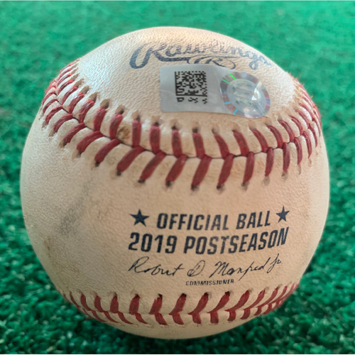 Photo of 2019 Game-Used Baseball ALCS Game 1 10/12/19 Astros vs. Yankees: Zack Greinke to DJ LeMahieu - Top 4th (Single to LF)