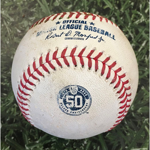 Photo of Game-Used Baseball CIN@MIL 08/27/20 (Game 1 of Doubleheader) - Adrian Houser - Mark Payton: Single (2nd Career MLB Hit)
