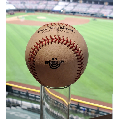 Photo of GAME-USED OPENING DAY LOGO BASEBALL - 3/28/2019 - CUBS @ TEX FINAL OPENING DAY AT GLOBE LIFE PARK - MIKE MINOR VS. KRIS BRYANT/ALBERT AMORA