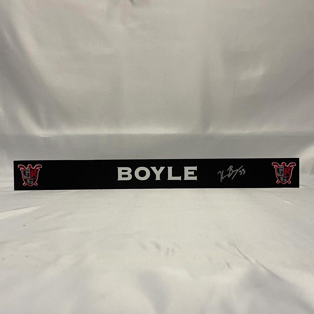 2020-21 Grand Rapids Griffins Locker Room Nameplate Signed by #33 Kevin Boyle