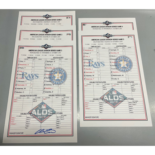 Photo of Replica ALDS Lineup Card Package: Game #1-#5 - October 4-10, 2019 v HOU