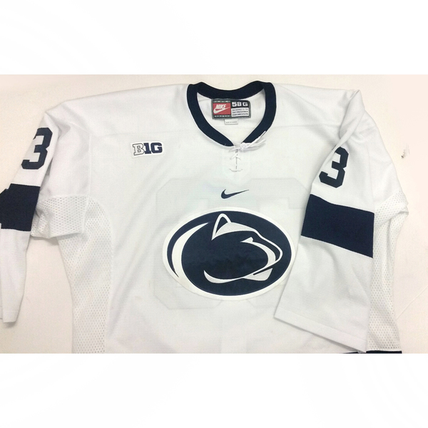Photo of Penn State Game-Used Men's Ice Hockey Jersey (White #33, Size 58G)