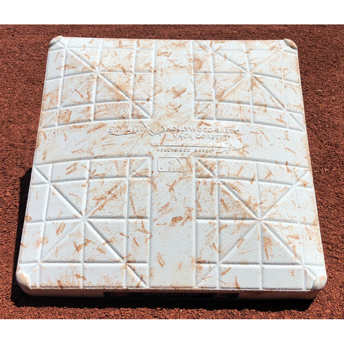 Photo of Game-Used Base: Miami Marlins vs Chicago Cubs  *Longest Inning Game at Marlins Park* (March 30, 2018 - 2nd Base 7th-9th innings)