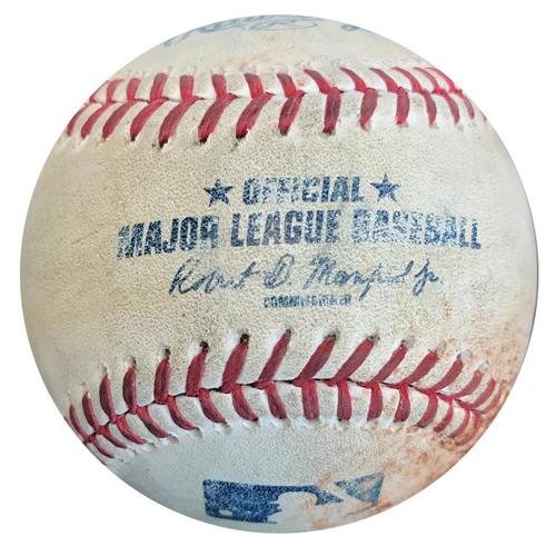 Photo of Game-Used Baseball from Pirates vs. Cardinals on 5/8/15 - Gregory Polanco Single