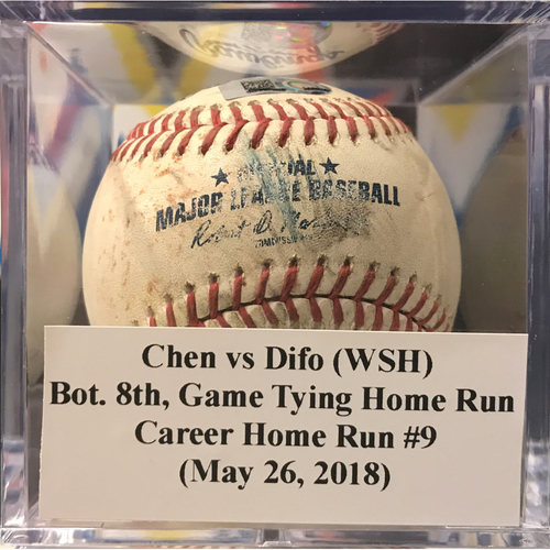 Photo of Player-Collected: Wilmer Difo Game Tying Home Run vs Wei-Yin Chen (May 26, 2018)