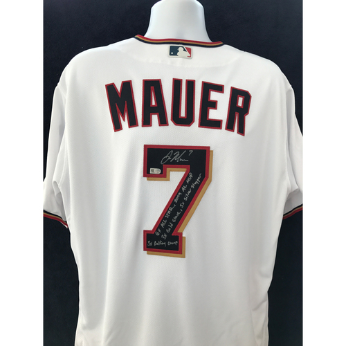 """Photo of Mauer & Friends Kids Classic Charity Auction: Joe Mauer Autographed Jersey Inscribed """"6 time All Star, 2009 AL MVP, 3 time Gold Glove, 5 time Silver Slugger, 3 time Batting Champ"""""""