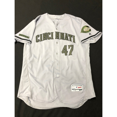 Photo of Sal Romano -- Game-Used -- Memorial Day Jersey (Worn: May 26-28, 2018)