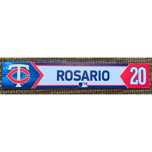 Photo of 2018 Game-Used Eddie Rosario Minnesota Twins Lockertag