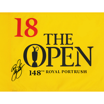 Photo of Rickie Fowler, The 148th Open Royal Portrush Autographed Souvenir Pin Flag