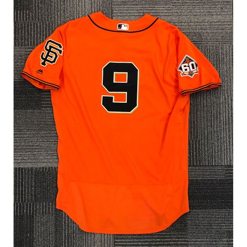 Photo of 2018 Game Used Orange Home Alternate Jersey worn by #9 Brandon Belt - 2-4, 2 RBI, 2 R, 2B, 3B - Size 48
