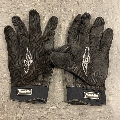 Photo of 2019 Holiday Sale - 2019 Autographed Batting Gloves signed by #53 Austin Slater - Black Franklin Batting Gloves